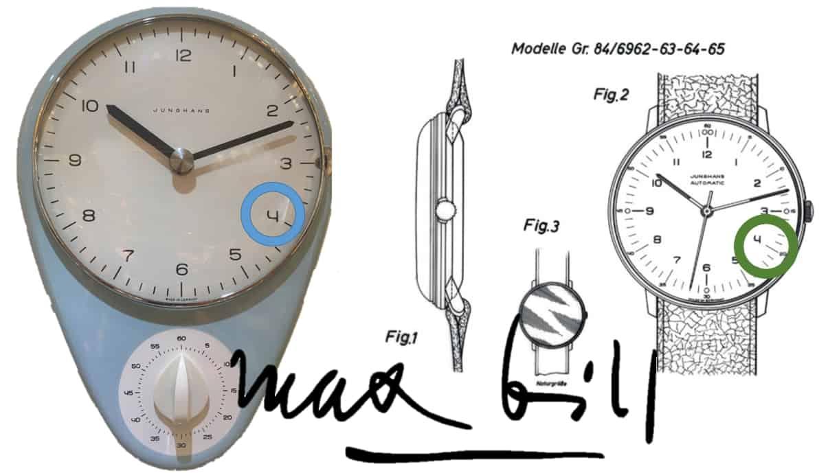 Junghans Max Bill Küchenuhr und die Gebrauchsmuster-Anmeldung zur Max Bill-Armbanduhr