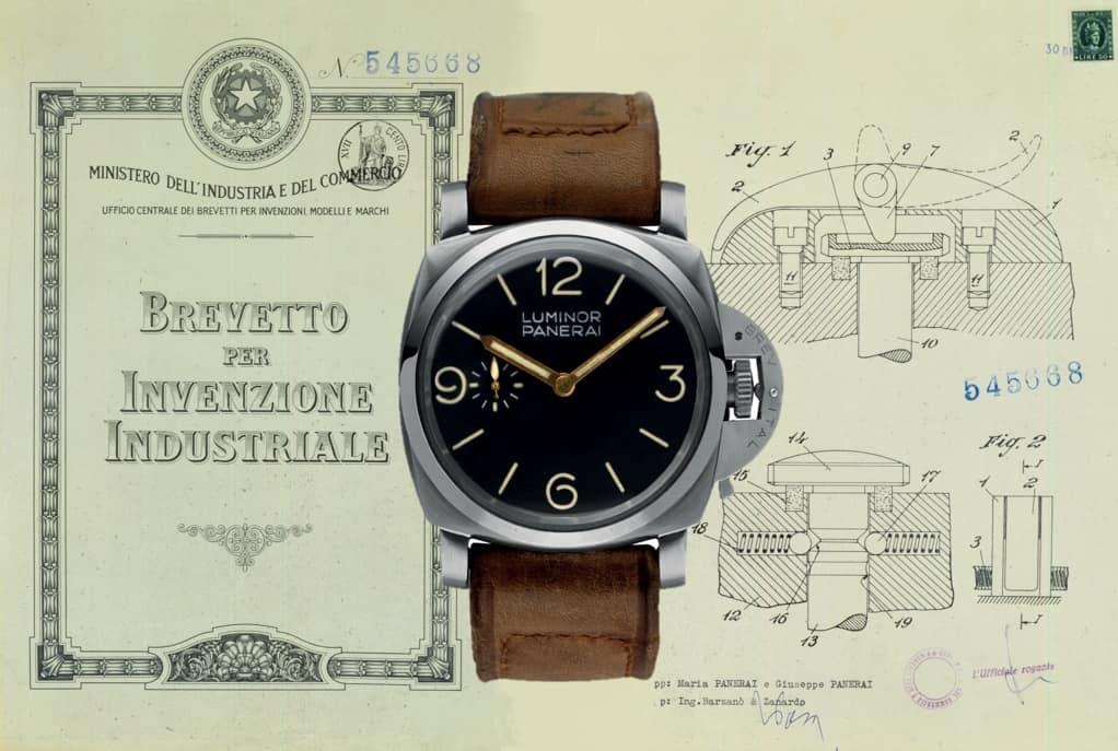 Panerai Luminor Patent 1956 mit Luminor Panerai 1950 er Jahre Montage Uhrenkosmos