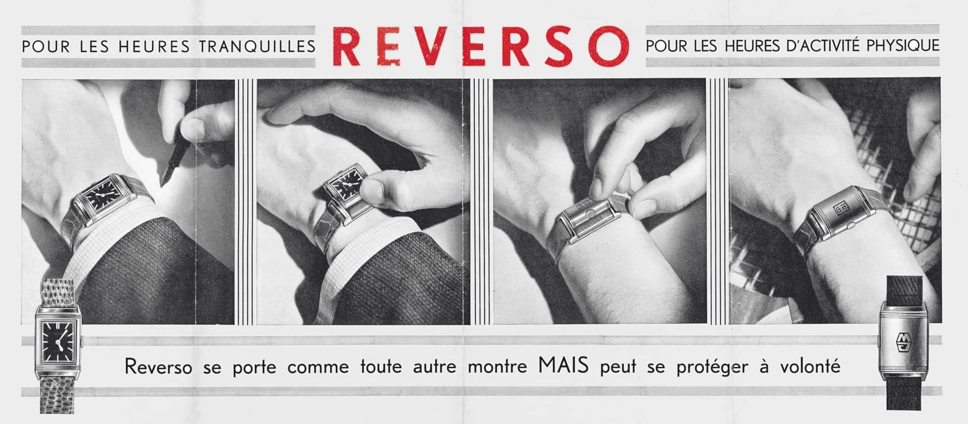 Im Reverso-Prospekt der 1930-er Jahre: Ob ruhig oder aktiv, die Jaeger-LeCoultre Reverso ist die richtige Uhr
