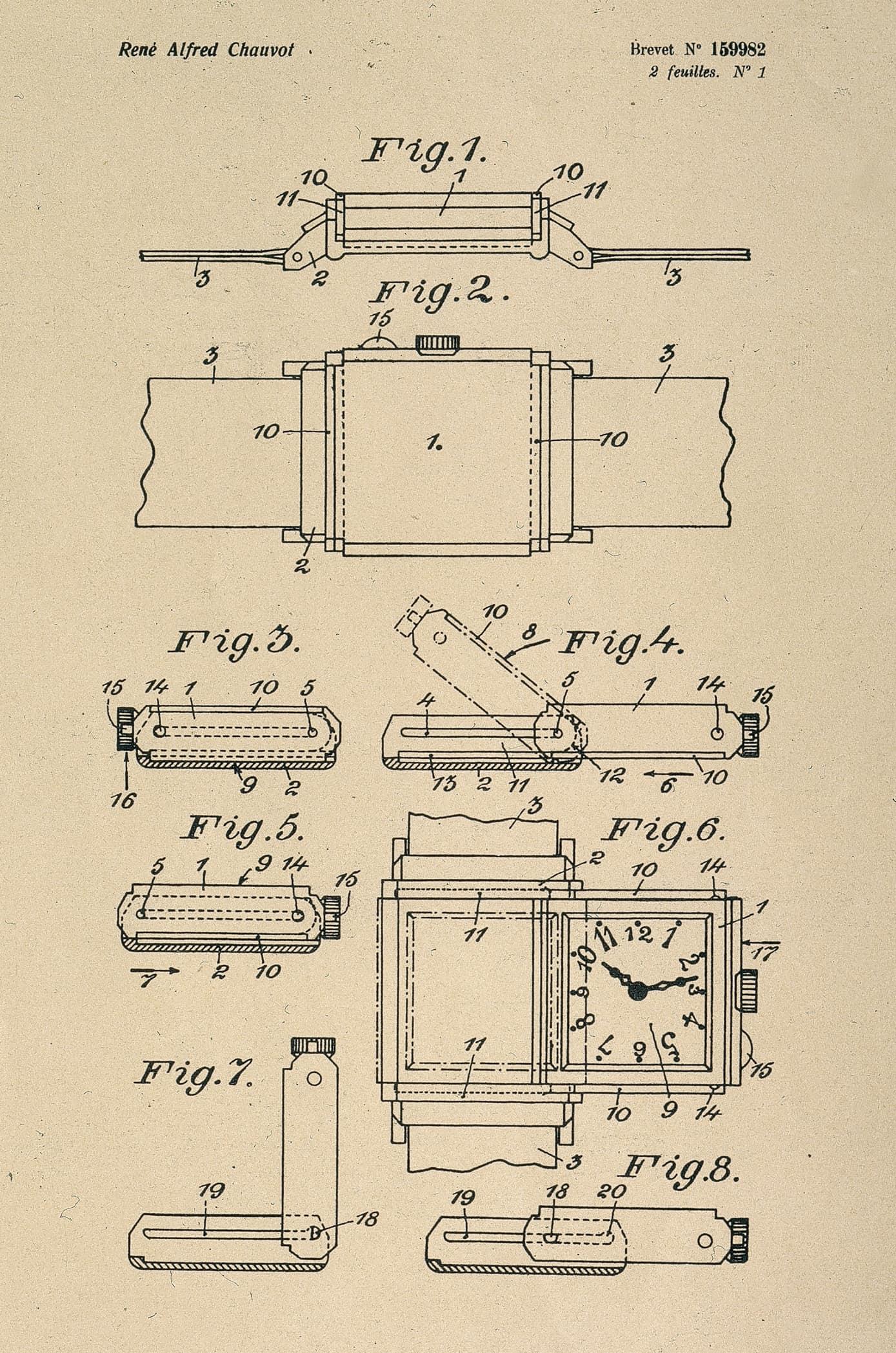 """Der funktionelle Teil der Patentschrift für die Jaeger-LeCoultre """"Reverso"""""""