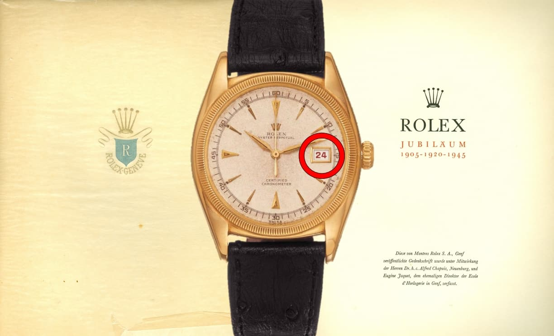 Die erste Rolex Datejust von 1945 mit dem hinzugekommenen Datum