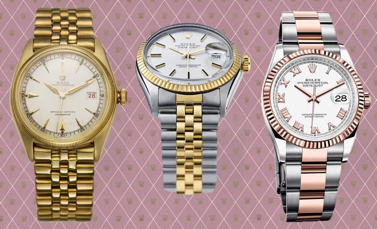 Die unterschiedlichen Rolex Datejust Modelle der Jahre 1945, 1969 und 2018