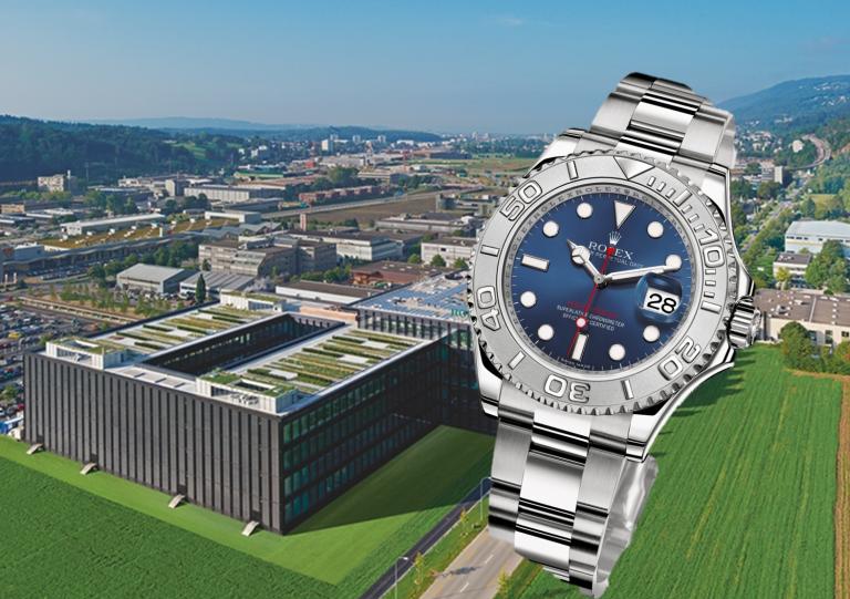 Das Rolex Werk in Biel am Bözingenfeld und Rolex Uhr