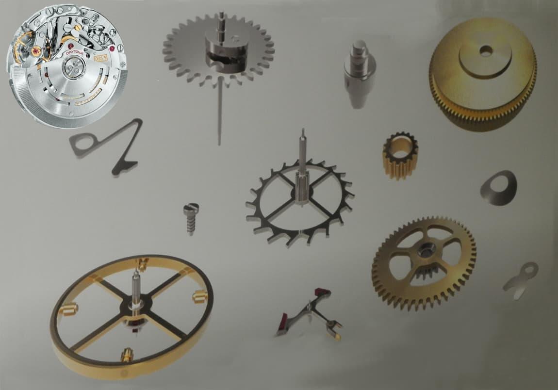 Das Rolex Chronographenkaliber 4130 und die hierfür notwendigen, in Biel gefertigten Komponenten