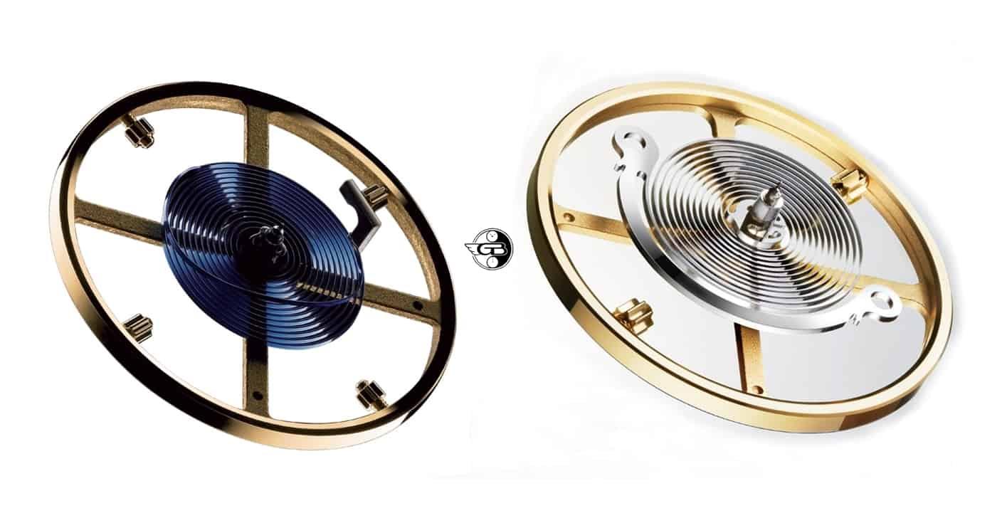 Im Vergleich: blaue Parachrom- und Syloxi Unruhspirale aus invariablem Silizium - Fotos Rolex - Montage Uhrenkosmos