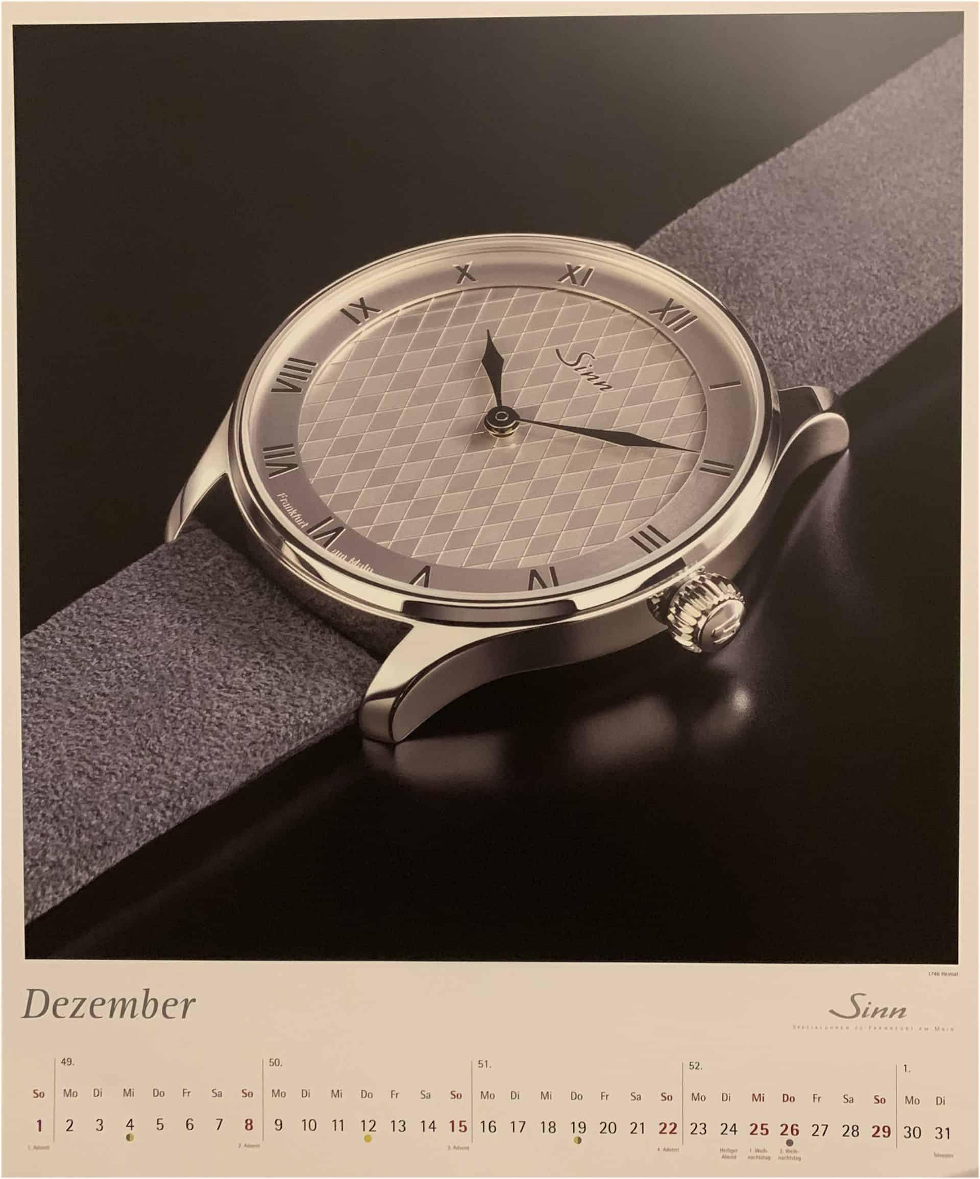 Sinn Uhrenkalender 2019 - Monat Dezember