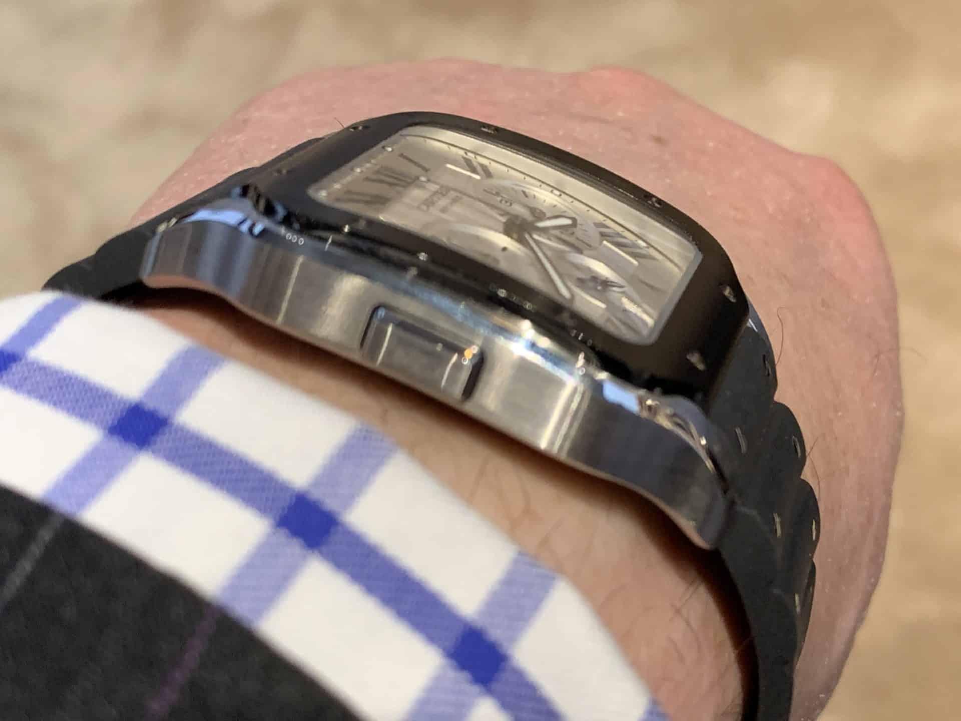 Cartier Santos Chronograph Automatic mit dem Start-Stopp-Drücker bei der 9