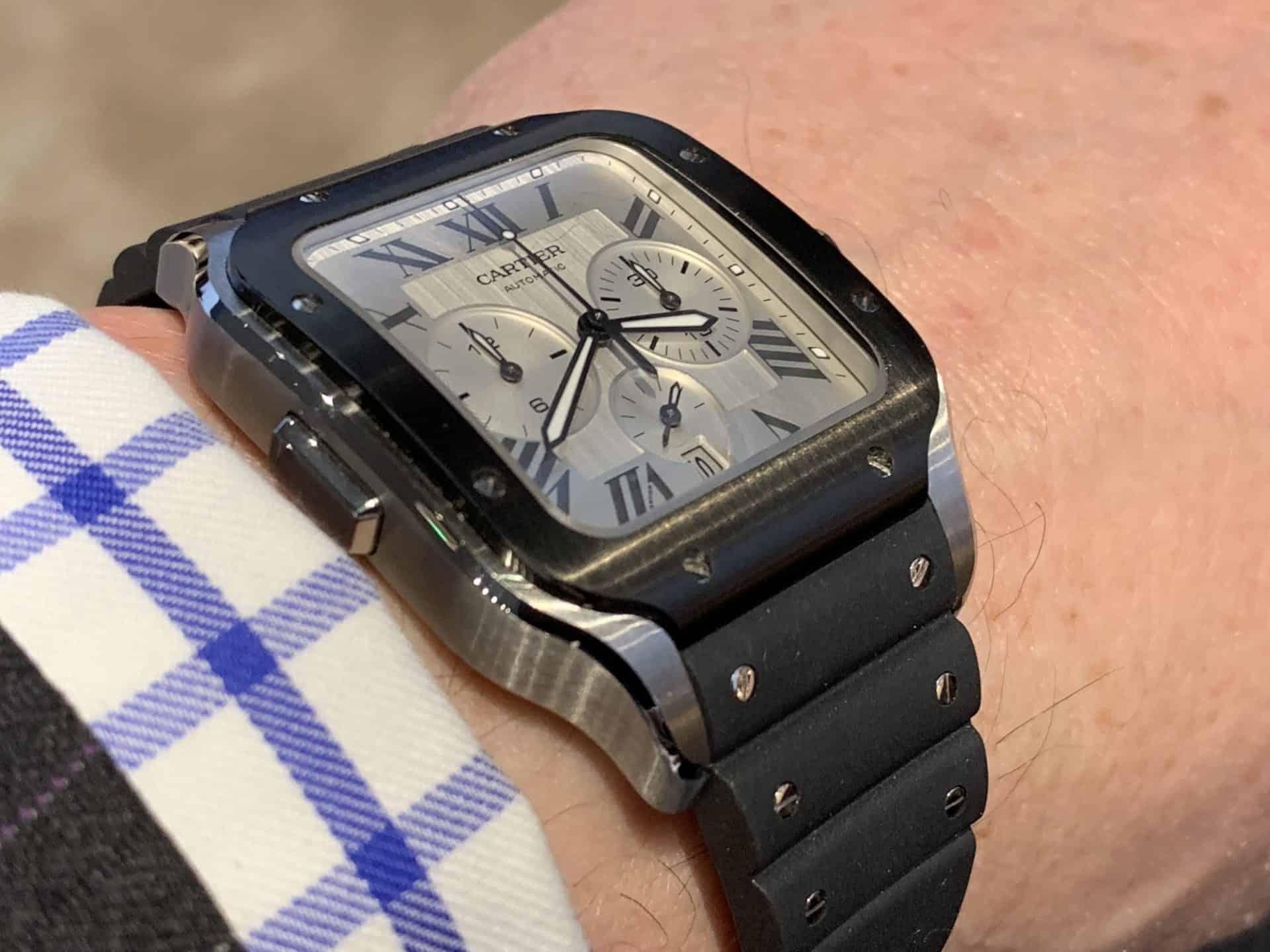 Die Cartier Santos ist mit ihrem Chronographen Automatik-Werk bestens ausgestattet