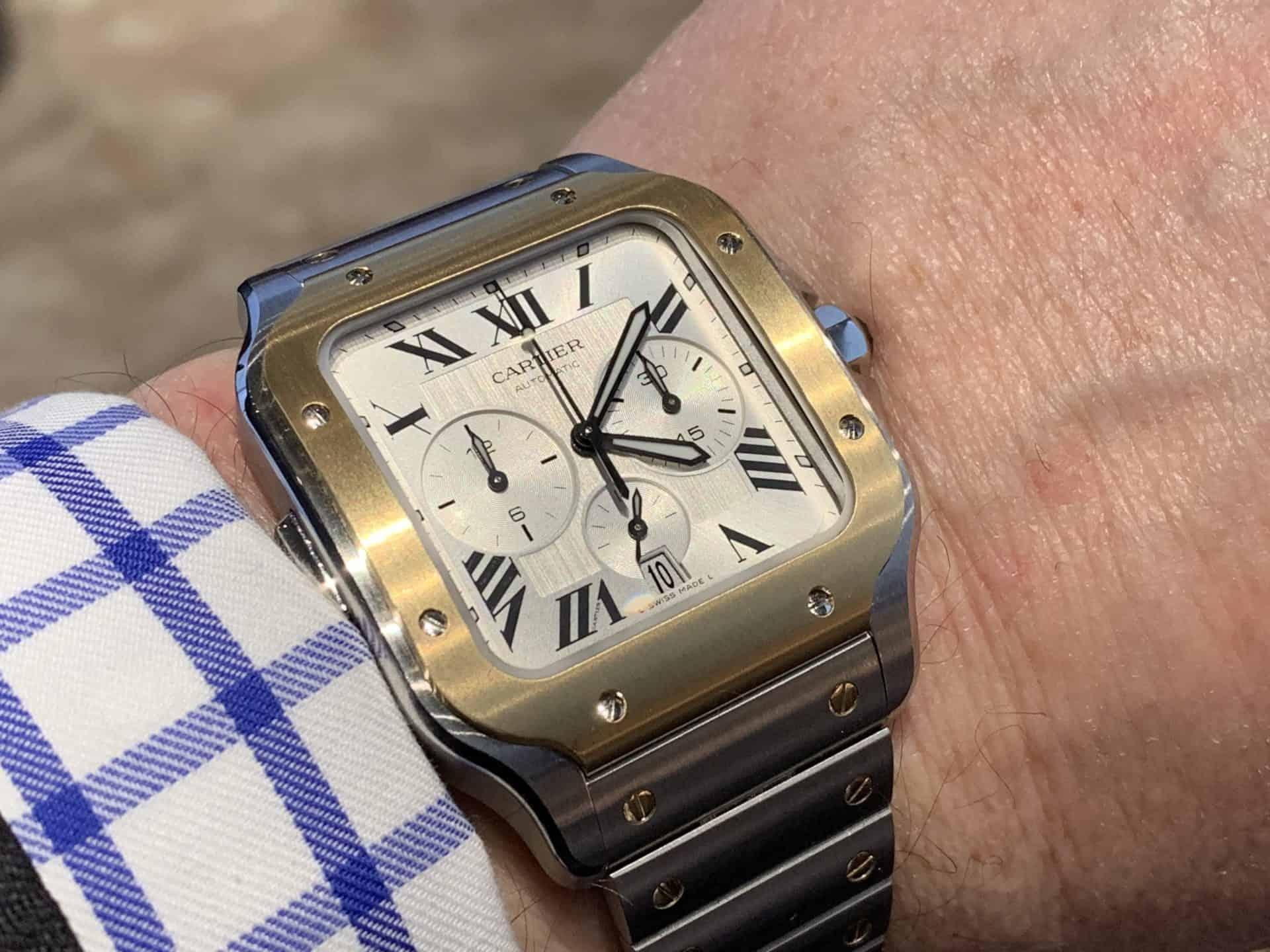 Der Cartier Chronograph Automatic gefällt auch in einer Ausführung in Stahl mit Goldlünette