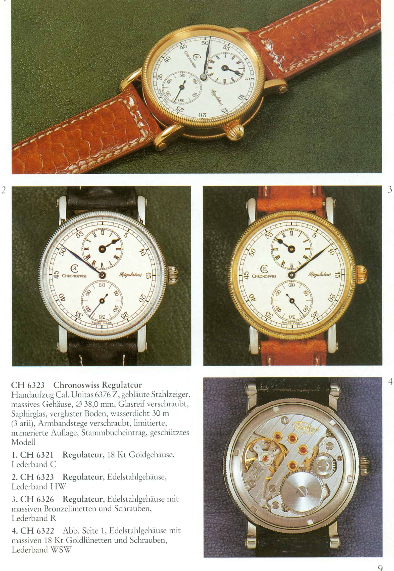 "Der innovative ""Regulateur"" im Chronioswiss Katalog des Jahres 1988"