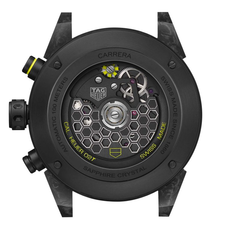 Die Waver Optik der Herstellung der neuen Unruhspirale hat wohl die Optik der Nanograph Tourbillon TAG Heuer Carrera Calibre Heuer 02T beeinflusst