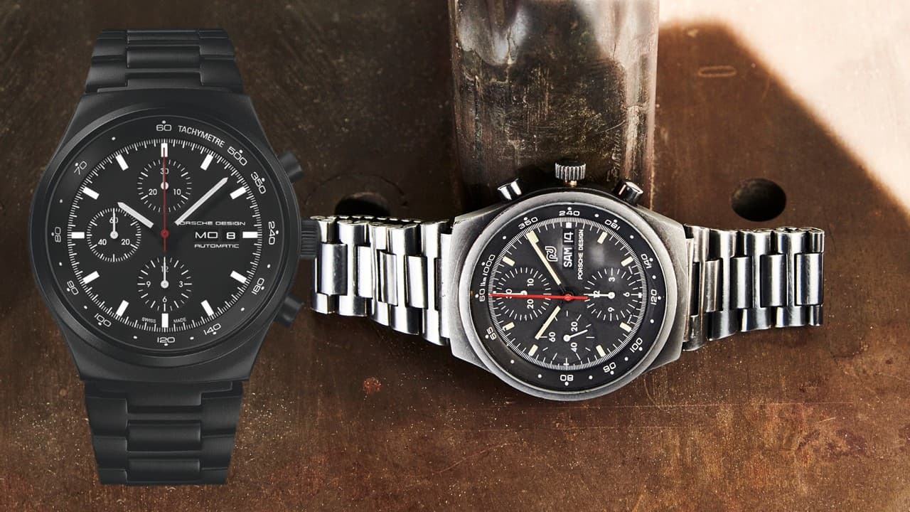 Rechts der Porsche Design Orfina Chronographvon von 1973 und links der Porsche Design P'6510 Heritage Black Chronograph des Jahres 2018