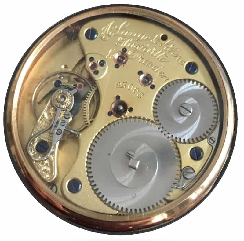 Eine eindrucksvolle Geschichte wie das A. Lange & Söhne Handaufzugskaliber 41 für Taschenuhren, Qualität 1 A von 1900 zeigt