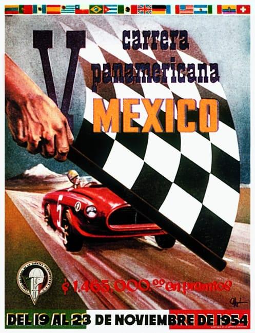 Das Plakat vermittel das Racing Fever der Carrera Panamerica