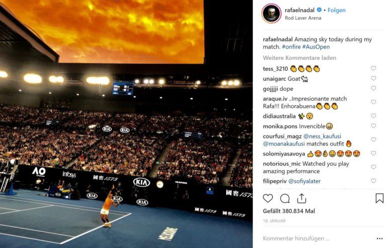 Bei Nadals loderndem, kraftvollen Spiel kann schon auch mal der Himmel feuerrot scheinen