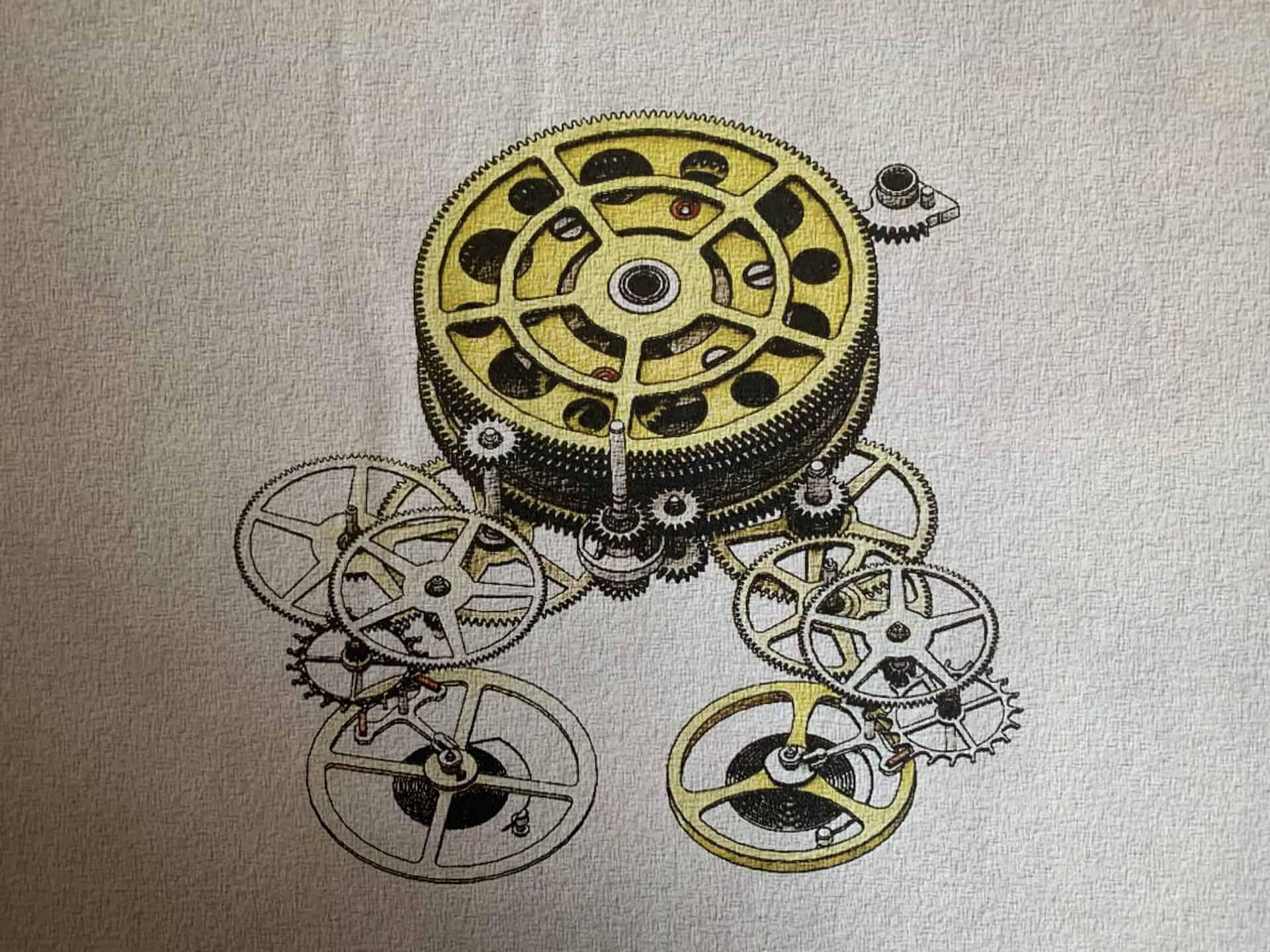 Die Zeichnung des Federhaus und der Getriebeketten der Twin Beat sind innovativ gebaut
