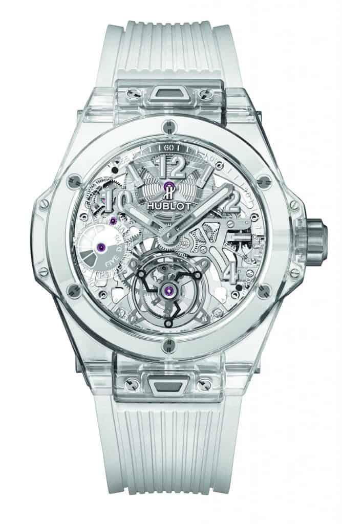 Die Hublot Big Bang Tourbillon mit dem skelettierten Uhrwerk