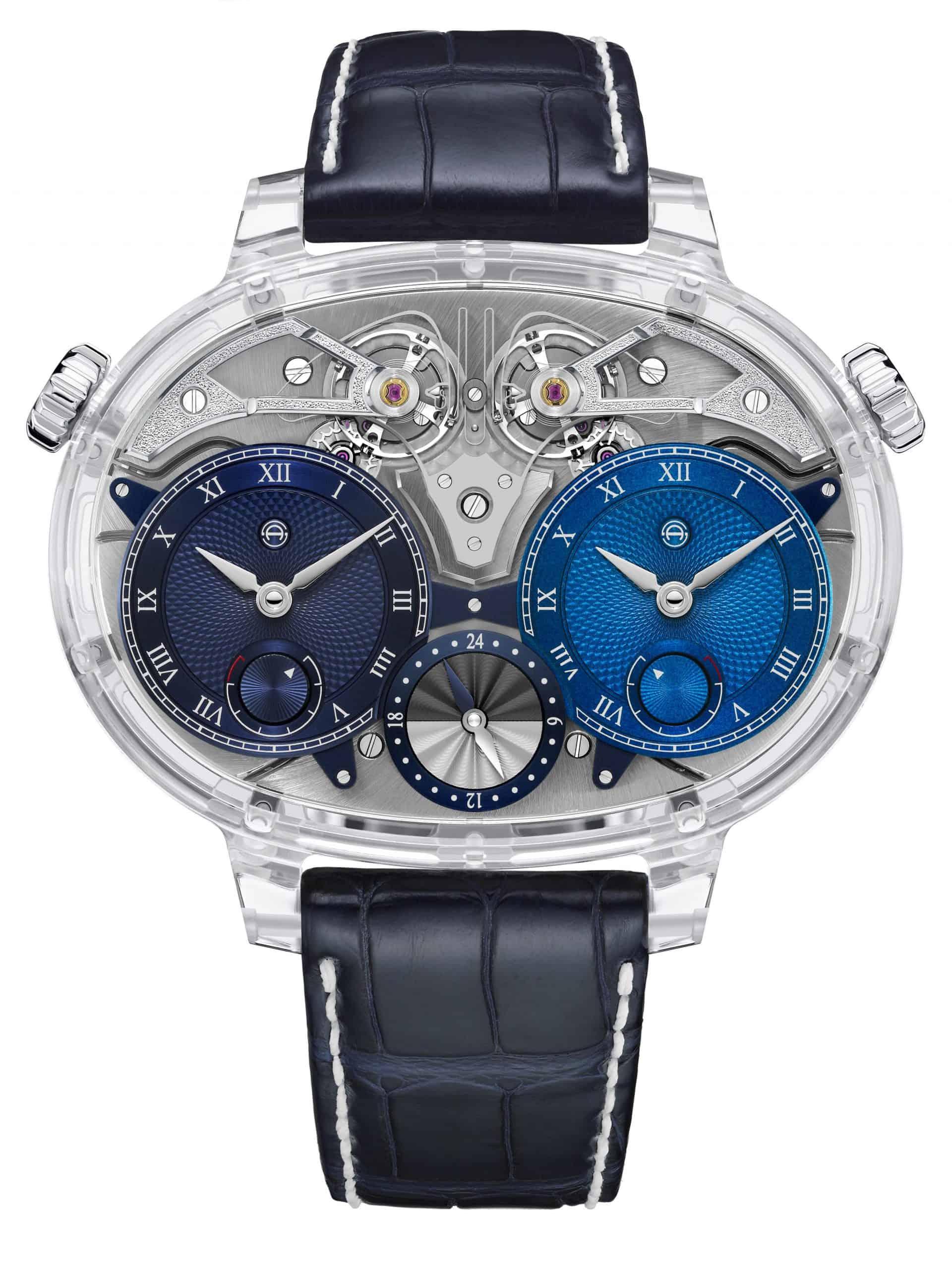 "Armin Stroms Luxus-Armbanduhr ""Dual Time Resonance Sapphire"" bietet hohe Präzisision und TransparenzIm Doppelpack: Armin Strom Dual Time Resonance Sapphire"