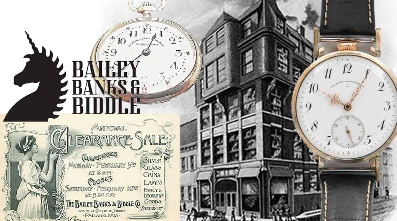 Bailey, Banks&Biddle historisches Geschäft mit zwei alten Taschenuhren