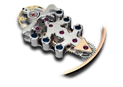 Das hochkomplizierte Konstrukt aus Zeiger, Unruhe, und ultrafeinen Zahnrädern der Freak Armbanduhr