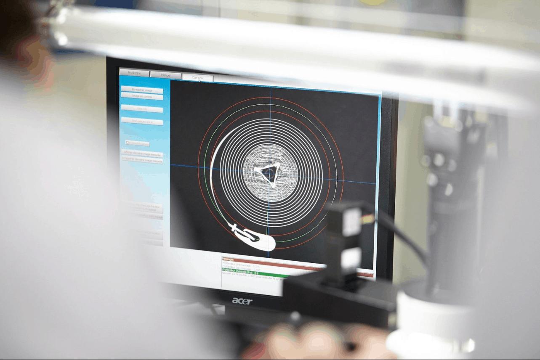Die Patek Philippe Spiromax-Spirale in der Bildschirmansicht, Foto GLB