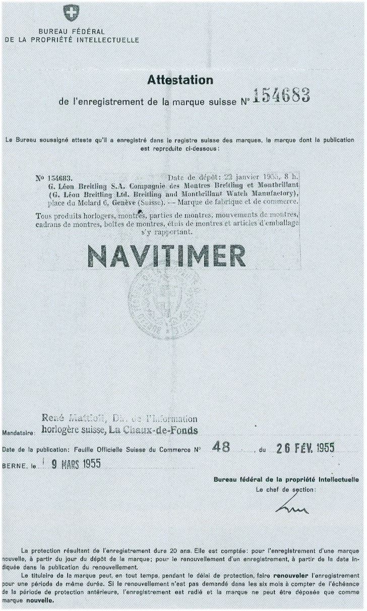 Mit Brief und Stempel - der Schutz des Namens Navitimer erfolgte im Jahr 1955