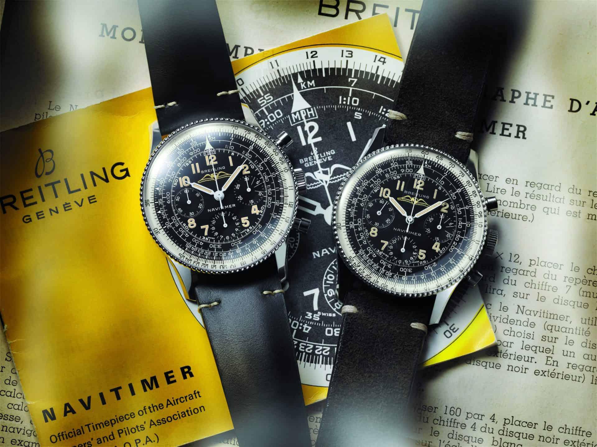 Breitling Navitimer Ref. 806 1959 Re-Edition und rechts der historische Navitimer Ref. 806 von 1959. Der neue Navitimer kostet 7.700 Euro. Beide Uhren bieten Piloten verschiedenen Navigationsunterstützung..