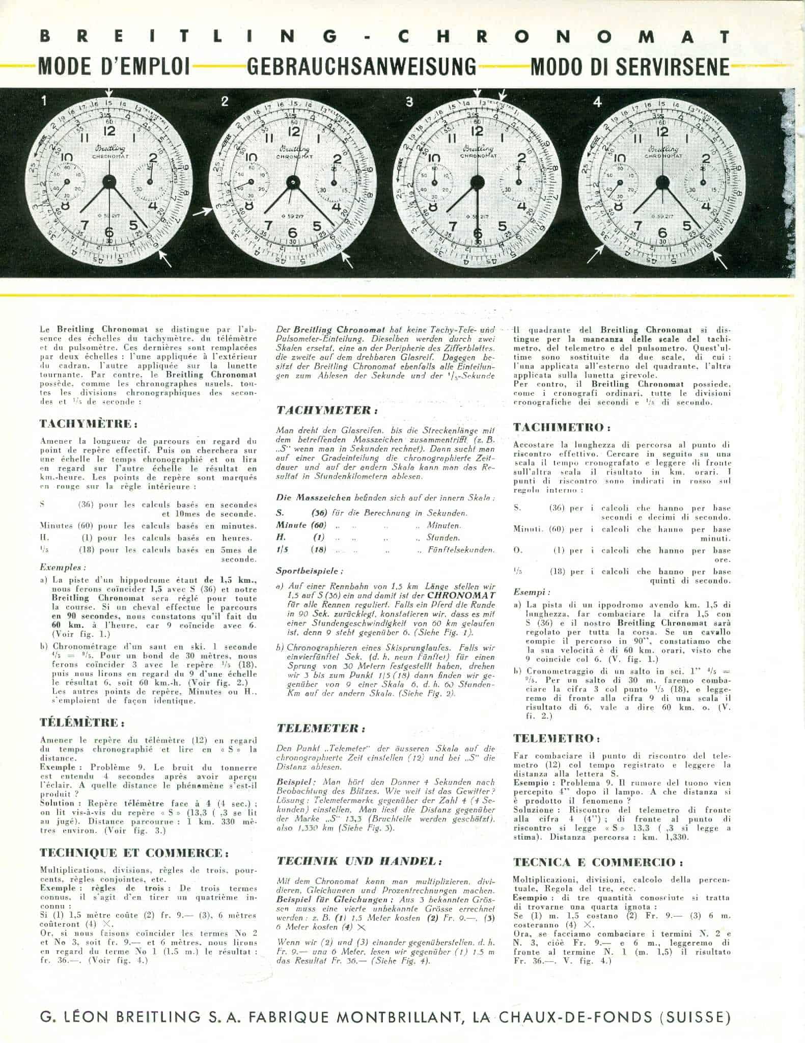 Der Breitling Chronomat von 1941 wurde mit einer Beschreibung der Funktionen beworben