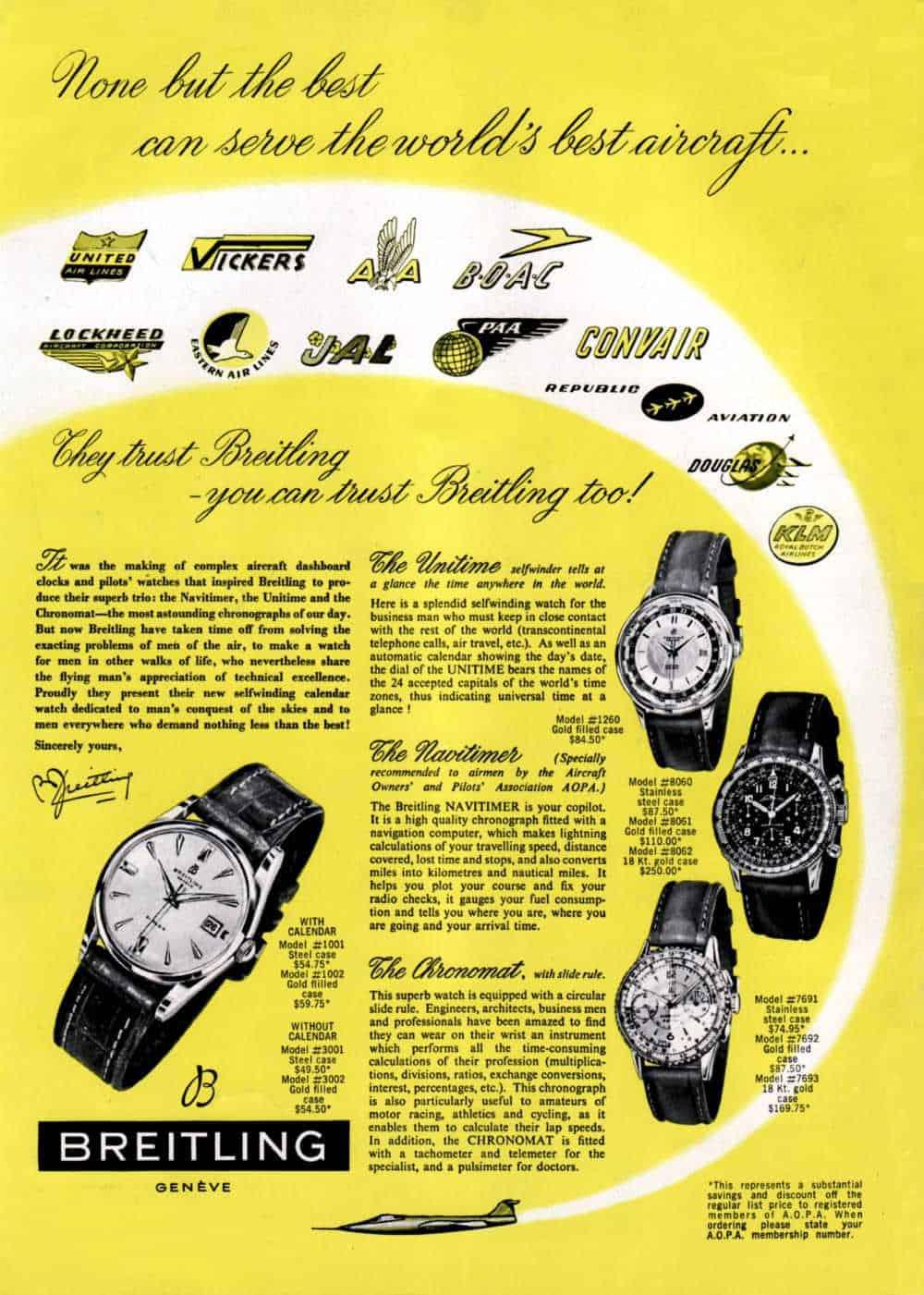 Das Breitling Inserat von 1956 für die Modelle Unitime, Navitimer und Chronomat war Fliegen pur