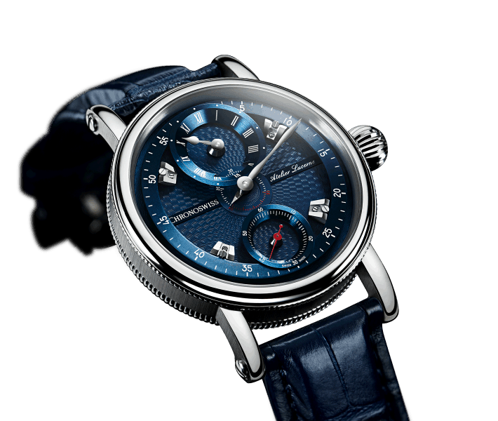 Farbiges Zifferblatt in Blau - der Chronoswiss Flying Grand Regulator für 8.600 Euro