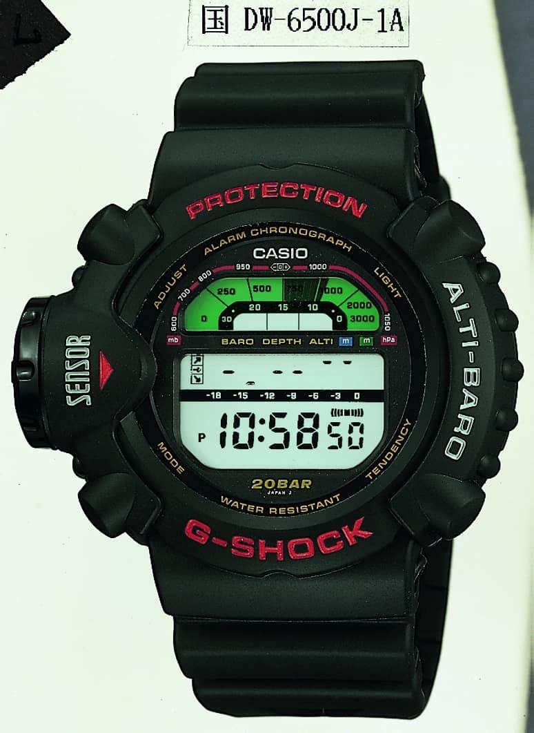 Die G-Shock DW-6500J-1A mit komplizierten Anzeigen