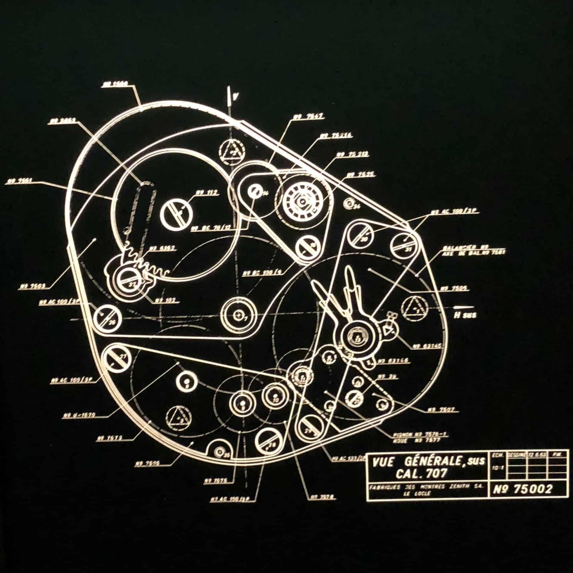 Alte Zeichung zur Herstellung des El Primero Uhrwerks