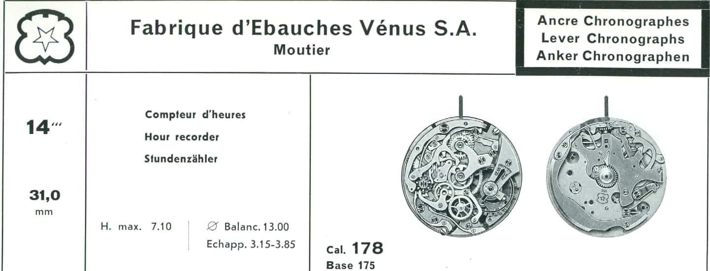 Das von 1941 bis 1966 produzierte Chronographenkaliber Venus 178 war eine Verführung für Liebhaber feiner Werke