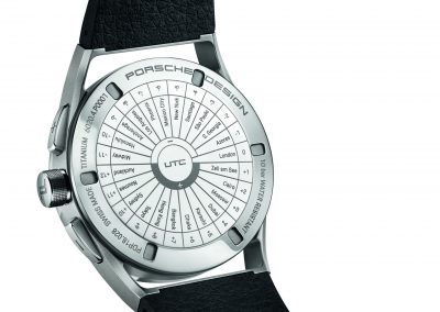 Der Boden der Porsche Design bietet weltweite Metropolen und die damit verbundene Zeitumstellung. Ein wertvoller Service für eine GMT Uhr