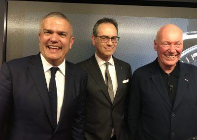 Die Männer hinter der Partnerschaft von Hublot und Ferrari: Ricardo Guadalupe, Favio Manzoni und Jean-Claude Biver