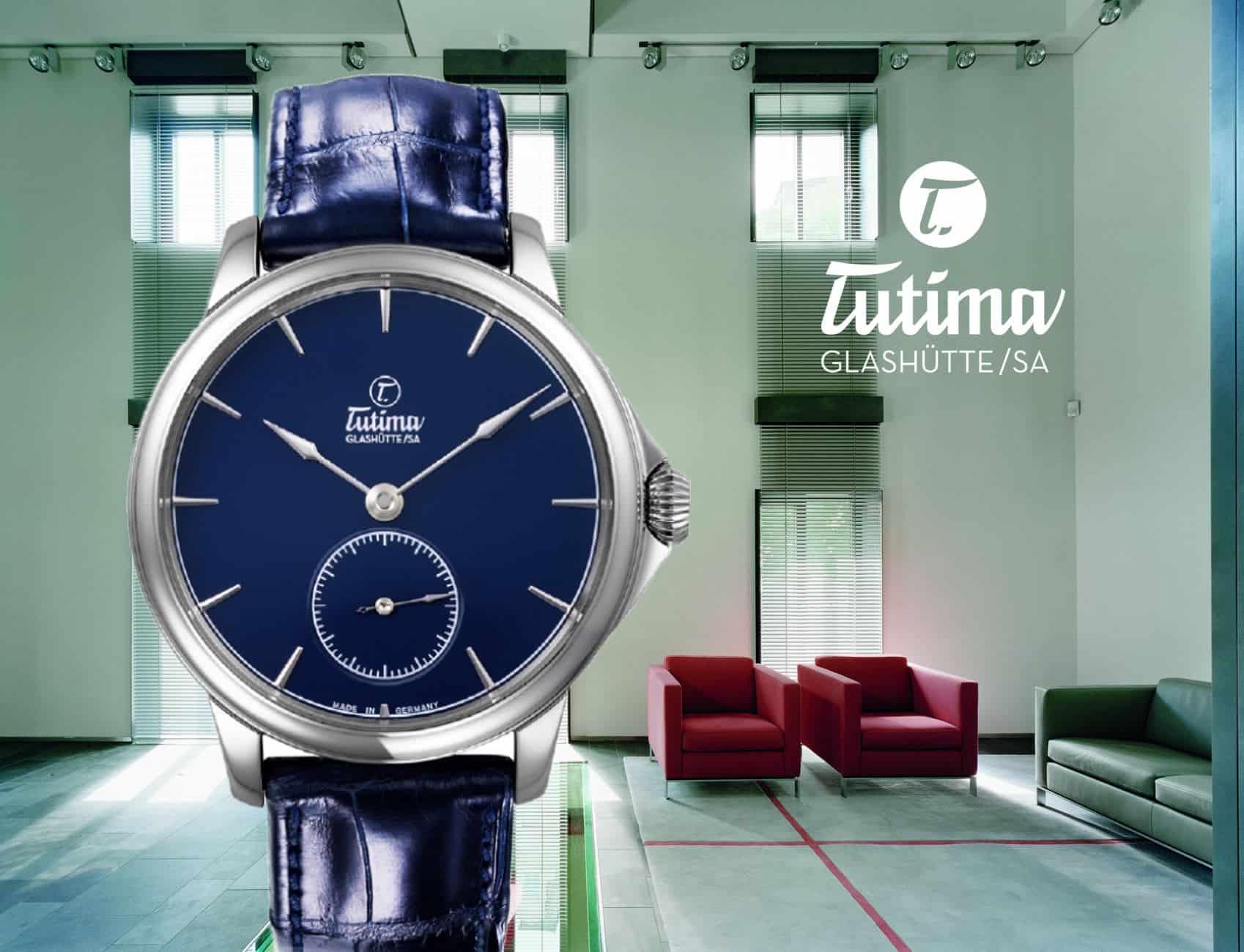 Tutima in Glashütte mit einer Tutima Patria Armbanduhr in blau