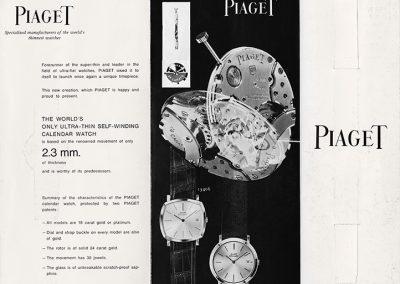 Eine alte Reklame für eine ultraflache Piaget Armbanduhr