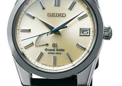 Die Grand Seiko Spring Drive Modell RLS1403von Seiko mit der Ganganzeige auf der Acht