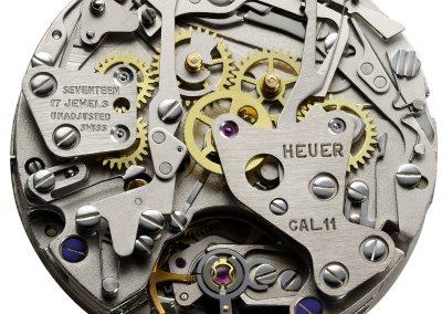Das alte Heuer Uhrwerk 11 aus dem Jahr 1969