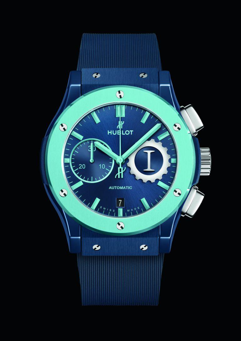 Die unterschiedlichen Blautöne machen die Garage Italia Edition von Hublot interessant oder sie polarisieren