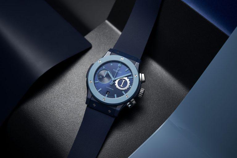 Die unterschiedlichen Blautöne machen das Zifferblatt der Garage Italia Edition von Hublot elegant, aber auch verwegen.