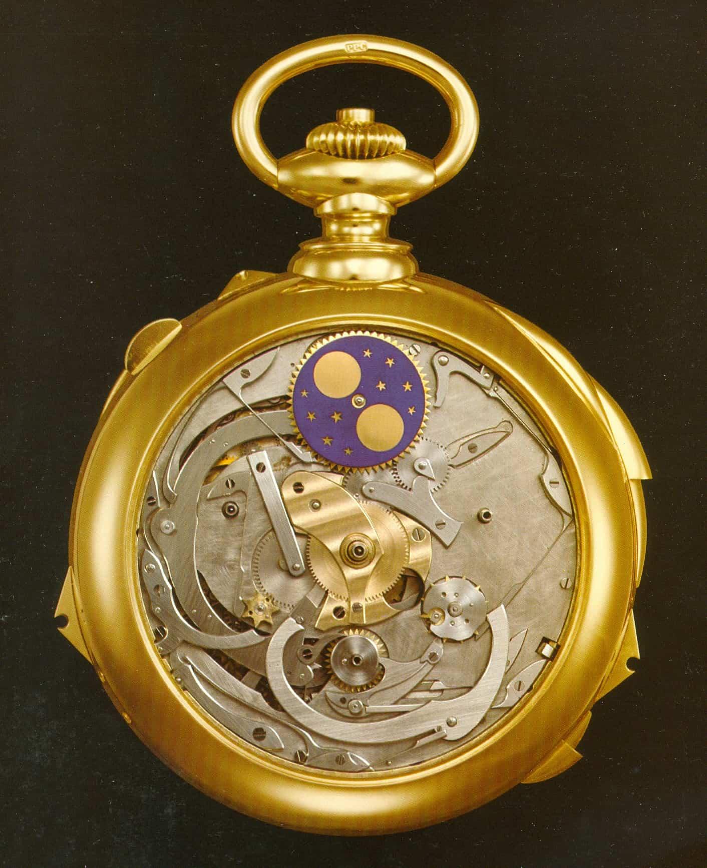 Unter dem Zifferblatt erkennt man das komplizierte Uhrwerk der Henry Graves Jun. Taschenuhr von Patek Philippe