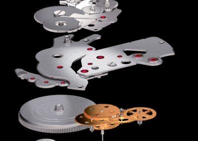 Das Spring Drive Uhrwerk von Seiko mit der elektronischen gesteuerten Kupplung in einer Explosionszeichnung