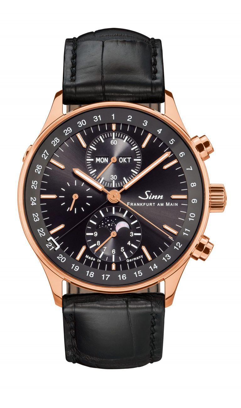 Das Goldgehäuse der Sinn Spezialuhren Edition 6012 mit Mondphase machen die Uhr wertig.