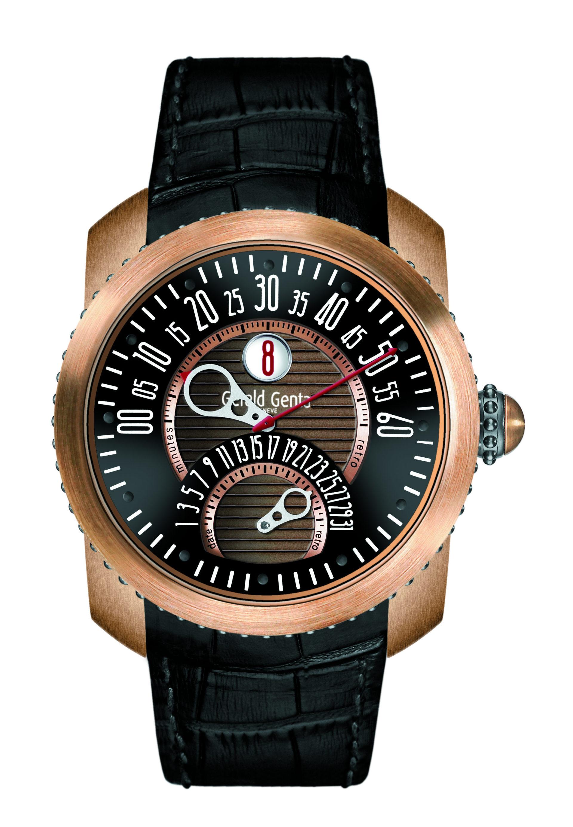 Eine ausgefallene Darstellung des Zifferblatts zeigt die Bronze-Uhr Safari von Gérald Genta