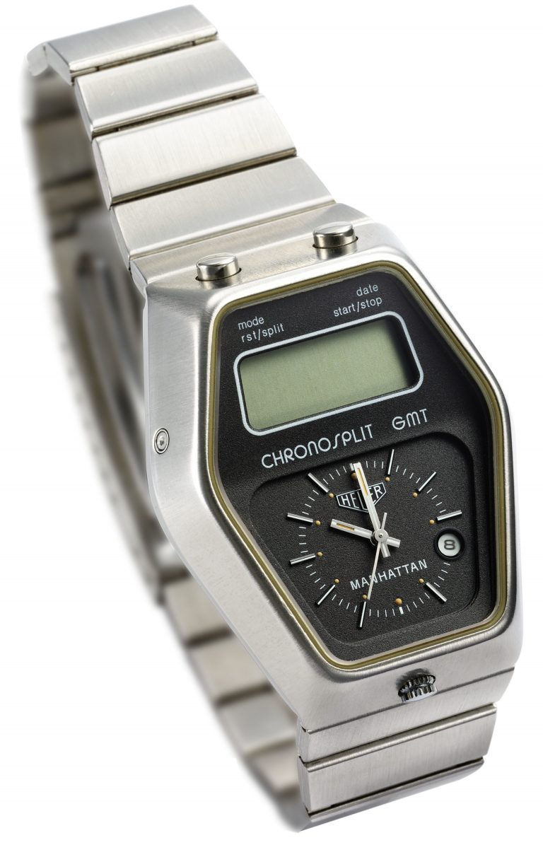 Die Heuer Quarzuhr Chronosplit Manhatten GMT mit digitaler und konventioneller Zeitanzeige