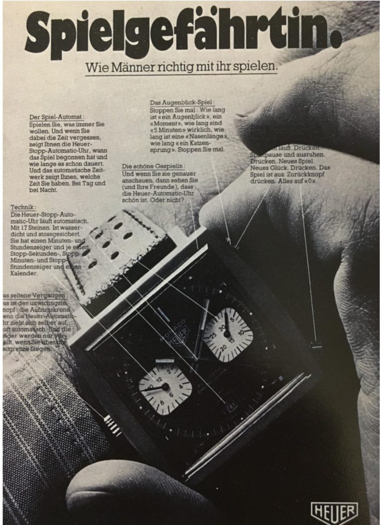 Eine alte Anzeige für den Monaco Chronographen der auf die Funktionalität hinweise