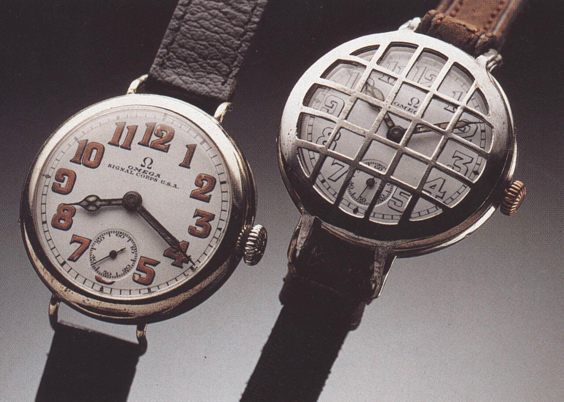Omega Militär Armbanduhren Kaliber 13 Übermittlungstruppen Modell 1917 links und 1916 rechts