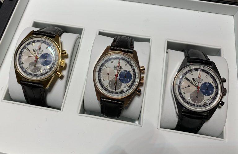 Die El Primero Jubiläumschronographen kommen in Gelbgold, Roségold und Weißgold.