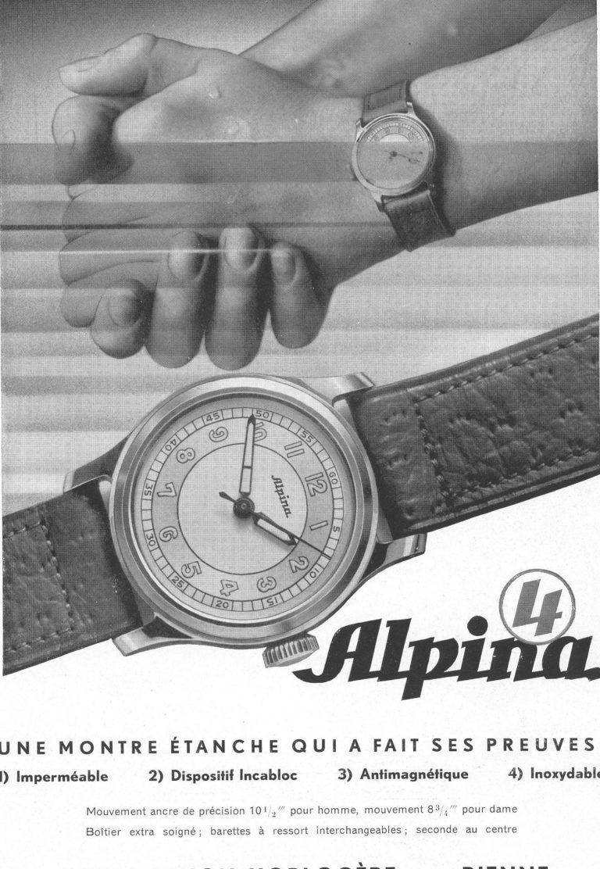 """Die alte Anzeige der Alpina 4 von 1938 warb mit dem Qualitätsmerkmal """"wasserdicht"""""""
